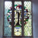 Stained glass window of St Pega