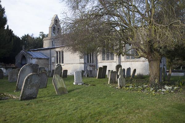 Graveyard looking towards door of the church