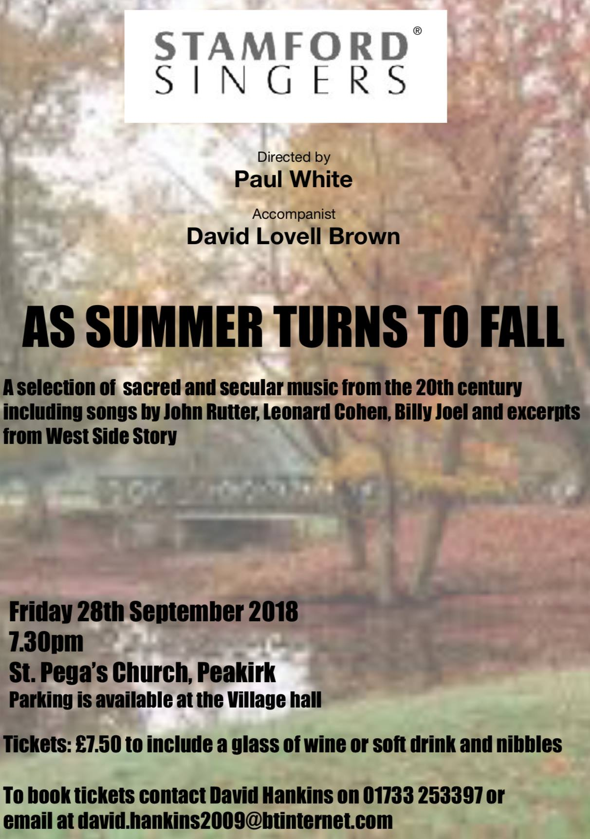 Stamford Singers at St Pega's Church 28th September